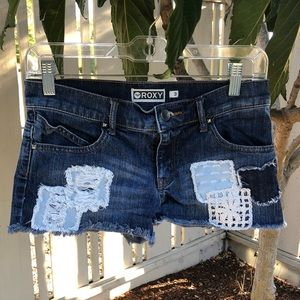ROXY patchwork denim shorts - Size 3